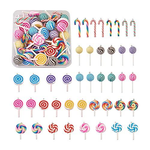 Cheriswelry 42 colgantes de arcilla para piruletas de colores, arcilla polimérica, bastón de caramelo dulce, colgantes para hacer manualidades, joyas, llaveros, manualidades