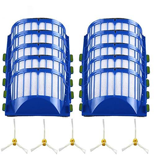ADUCI 15pcs HEPA Filter 3-Armado Side Cepillo for Roomba 600 Series 610 620 625 630 650 660 Aspiradora Accesorios