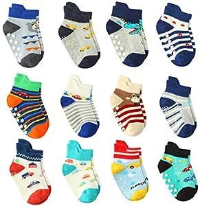 Wobon 12 Pares de Calcetines Antideslizantes de ABS Bebé Chicos con Asas, Calcetines Antideslizantes para Niños Pequeños (12 pares A, 0-12 meses)
