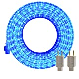 SURNIE Blue LED Rope Lights Outdoor 50ft Cuttable Waterproof Strip Lights Kit Rope Lighting Indoor Connectable Flexible 110V 2 Wire UL Certified Decorative Location Garden Stairs Balcony Party
