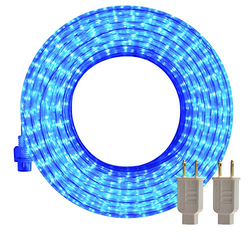LED Rope Lights Outdoor, SURNIE Blue 50ft Waterproof Strip Lights Kit Cuttable Rope Lighting Indoor Connectable Flexible 110V 2 Wire UL Certified Decorative Location Garden Stairs Balcony Party