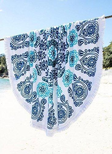 Demarkt–Toallas de playa toalla toalla toalla techo para exterior Playa de arena y decoración interior. borla algodón tela impresión redondas