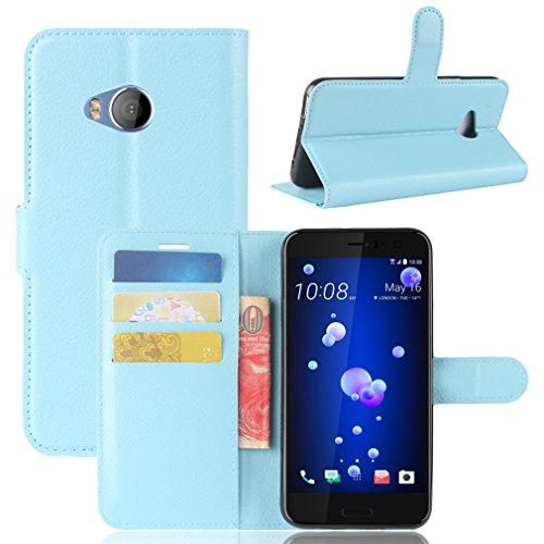 LMAZWUFULM Hülle für HTC U11 Life PU Leder Magnetverschluss Brieftasche Lederhülle Litschi Muster Standfunktion Ledertasche Flip Cover für HTC U11 Life Blau