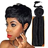 Mayloss 28 Pcs Human Hair Extensions with Top Closure Unprocessed Brazilian Curly Short Virgin Hair Weave Wavy (3' 4' 5' Mix Lenght 100g/pcs 1B Color)