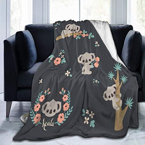 Coperta in pile di flanella di Koala 3D, per soggiorno, camera da letto, divano e divano, calda e morbida, per bambini e adulti per tutte le stagioni, 127 x 152 cm