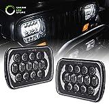 xj jeep headlight conversion - 7x6 5x7 LED Headlights H6054 H5054 [CREE LED] [Black Finish] [DRL Built-in] [H4 Plug & Play] [Low/High Beam] - H6054LL 69822 6052 6053 Head Light for Jeep Wrangler YJ Cherokee XJ