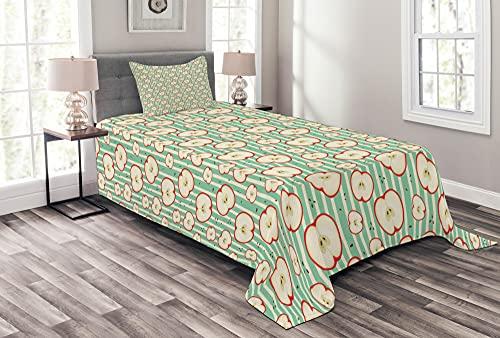 ABAKUHAUS Apfel Tagesdecke Set, Geschnittene Tasty Fresh Fruit Art, Set mit Kissenbezügen Ohne verblassen, 170 x 220 cm, Mandelgrün Dunkel Coral