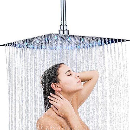 Onyzpily - Alcachofa de ducha LED de 16 pulgadas, 3 colores, acero inoxidable pulido cromado, efecto lluvia, elegante, cuadrada, ultrafina, sensor de temperatura, montado en la pared o en el techo