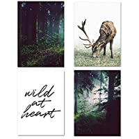 森の風景野生の鹿のキャンバスポスター北欧スタイルの壁アートプリント絵画装飾絵の部屋家の装飾40x50cmx4フレームなし
