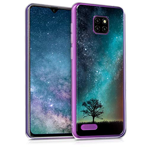 kwmobile Case for Ulefone Note 7 (2019) - Crystal TPU Protective Cover with UV Print and Transparent Edge - Cosmic Nature Blue/Grey/Black