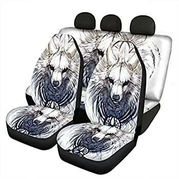 Howilath White Wolf Print Car Seat Covers Set for Cars Truck Van SUV - Wolf Dream Catcher White Car Accessories Cover Washable Universal Fit Most Vehicle Trucks Sedans