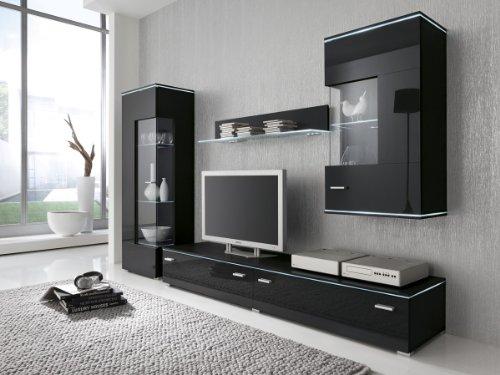 Dreams4Home Wohnwand Anbauwand schwarz, Fronten Hochglanz, optional LED-Beleuchtung, Beleuchtung:ohne Beleuchtung