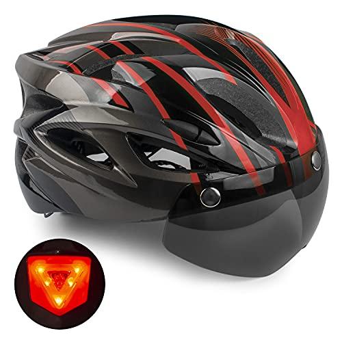 Casco de Bicicleta,KINGLEAD Casco CE con Visera Solar Extraíble, Casco de Bicicleta para Adultos USB Casco de Ciclismo de Carretera con Gafas extraíbles Casco de MTB Ajustable para Hombres y Mujeres