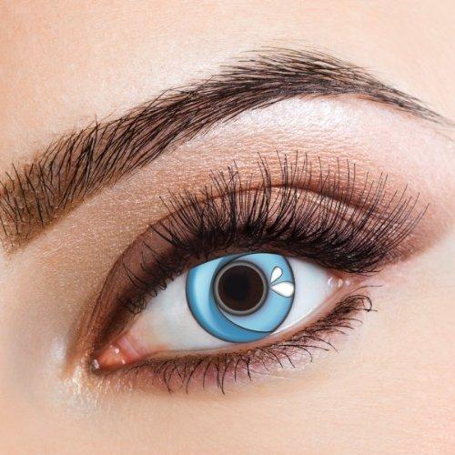 aricona Kontaktlinsen - Blaue Kontaktlinsen deckende Farblinsen ohne Stärke - Farbige Kontaktlinsen Comic-Style für Karneval, Fasching, Cosplay, 2 Stück