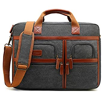 CoolBELL 17.3 Inches Laptop Messenger Bag Protective Shoulder Bag Canvas Business Briefcase Multi-Functional Computer Case for Men/Women/College/Office  Canvas Dark Grey