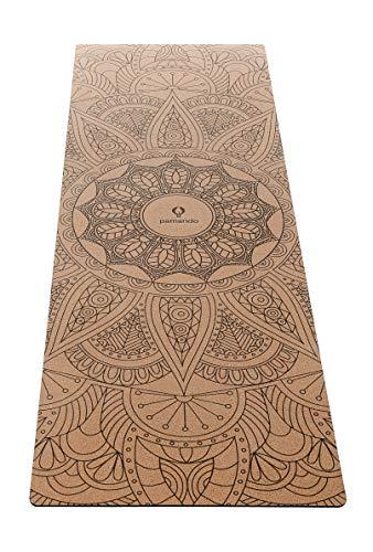 Pamando Premium Yogamatte Kork | Gymnastikmatte | aus natürlichem Kautschuk & Kork - nachhaltig & schadstofffrei - rutschfest | Anti-Slip Beschichtung - Studioqualität - 183cm x 61cm - 5mm