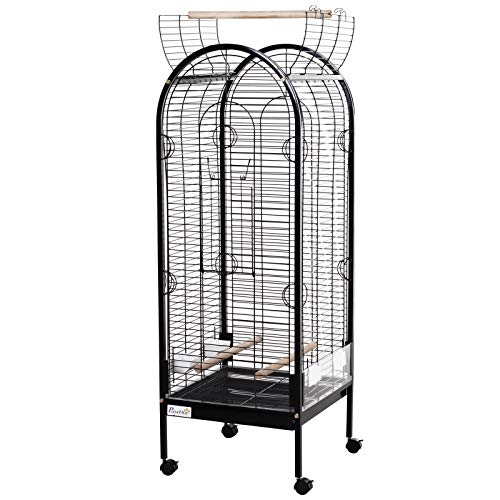 PawHut Metal Bird Parrot Cage with Rolling Standing Large Open Playtop 5ft w/perches and Bowls w/Wheels, Pull-Out Tray, Multi-Door (Black)