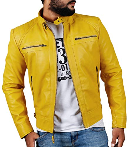 Laverapelle Men's Genuine Lambskin Leather Jacket (Yellow, Large, Polyester Lining) - 1501344