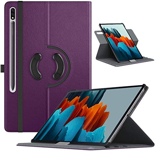 TiMOVO Case for All-New Samsung Galaxy Tab S7 11 Inch Tablet 2020 (SM-T870/T875), 90 Degree Rotating Swivel Leather Cover Case with Auto Wake/Sleep Fit Galaxy Tab S7 Tablet, Purple