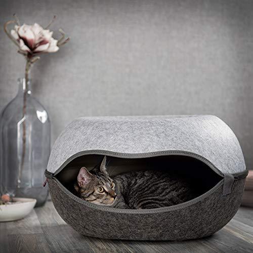 CanadianCat Company ®   Das Katzennest 2.0   Katzenhöhle   Katzenbett   anthrazit/grau   52 x 46 x 31 cm   Filzhöhle für Katzen