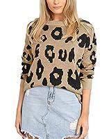 MOLFROA Womens Winter Long Sleeve Leopard Print Knits Loose Crew Neck Sweaters (Khaki, 2XL)