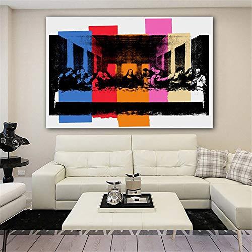 (Geen frame) 60x80CM Home Decor Canvas schilderij Andy Warhol DETAIL VAN DE LAATSTE SUPER Klassieke poster Scandinavische stijl Modulaire foto's Muurkunstwerk