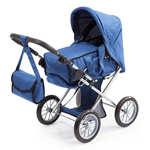 Bayer Design 13635AA City Star, combi poppenwagen, voor poppen tot ca. 46 cm, met uitneembare draagtas en schoudertas, blauw, jeans
