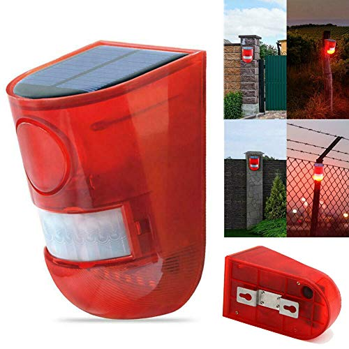 Solar Powered Sound Strobe Alarm Flashing Sensor Light Lamp Motion Detector 110 db Loud Siren for Garden Home Villa Farm Hacienda Apartment Outdoor Yard (Waterproof)