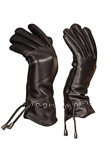 YISEVEN Damen Winter Lederhandschuhe aus Hischleder mit Wolle Warm Gefüttert Elegant Leder Autofahrer Handschuhe Weihnachtsgeschenke, Schwarz XXL/8.5