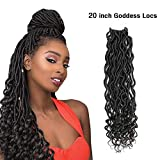 (20 inch,1B#,80g/pack,24 Roots) BaiHong Goddess Locs Crochet Hair with Curly Ends Wavy 6 Packs Natural Color Soft Synthetic Crochet Braiding Hair Extensions For Black Women (20 inch, 1B#)