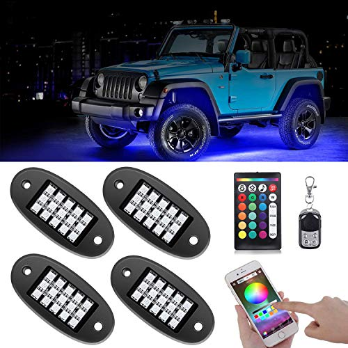 AMBOTHER RGB LED Rock Lights 60 LEDs Underglow Lights Waterproof Firmest APP RF Remote Music Mode Timing Setting Function for Jeep, Truck, Car, Off Road, DC12-volt