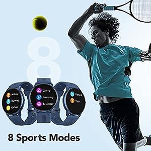 AGPTEK Smartwatch, Reloj Inteligente 1.3 Pulgadas Táctil Completa IP68, Pulsera de Actividad Deportivo Pulsómetro Monitor de Sueño, Control de Musica para Hombre Mujer Adolescentes, Azul