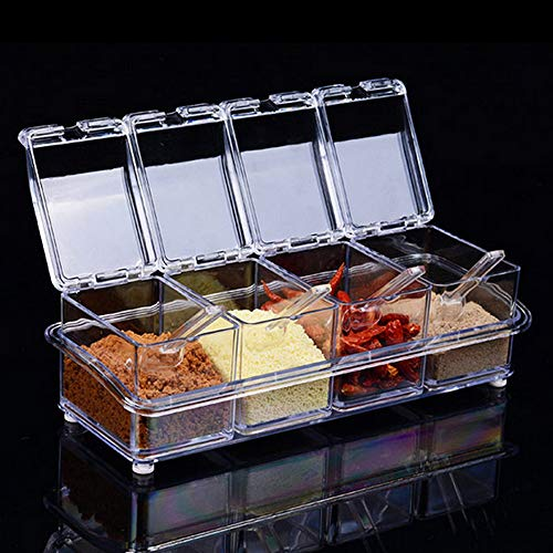 Czemo Juego De Caja para condimentos Transparente Organizador Especias, Especiero Cocina, Botes para Especias con Cucharas y Tapas