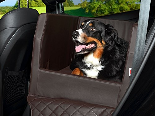PadsForAll Auto Hundebett, Rücksitz Schutzdecke, Autoschondecke, auch in visco elastisch | braun