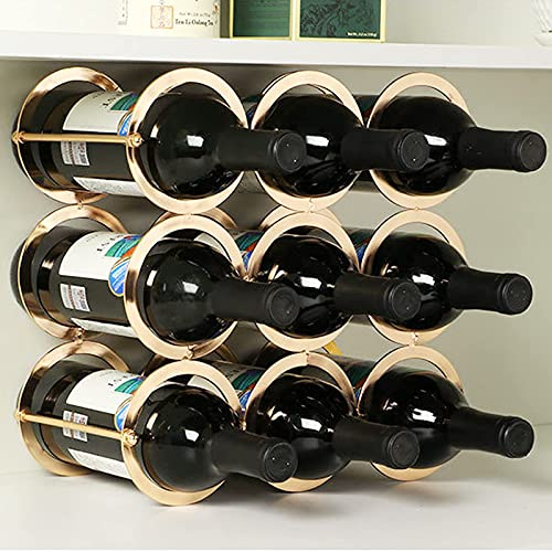 Estantes de Vino para Almacenamiento de Botellas de Vino, Ahorro de Espacio, 9 Botellas, Estante de Vino de Soporte Libre de encimera para vinos tintos y Blancos, Oro de imitación