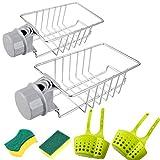 2 pezzi per lavello, organizer in acciaio inox, rubinetto da cucina, supporto per spugna da appendere, ripiano doccia per sapone/spugne, per tutti i diametri di 15-28 mm asta per doccia/rubinetto