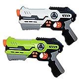 Laser Tag Game Set mit 2 Laserpistolen - Spiel für Kinder ab 8 Jahren l Lenbensanzeige mit Battle Modus und bis zu 20m Reichweite (Grün/Weiß) (2er Set / grün-weiß)