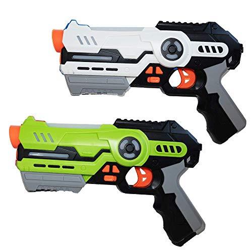 Juego de 2 pistolas láser, juego para niños a partir de 8 años, indicador de lente, con modo de batalla y alcance de hasta 20 m (verde/blanco) (juego de 2, verde y blanco)