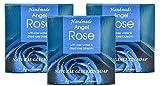 Barritas de jabón hechas a mano naturales Angel Rose con agua de rosas y flores, aceite de coco, glicerina vegetal, Encantadora fragancia dulce y cálida 3x60g