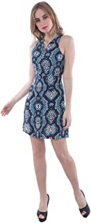 Palm Lagoon Lionel in Enamel Snake Skin Blue Regular Fit Sleeveless Animal Print Mini Dress