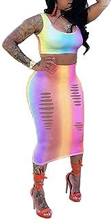 Women Tank Stripe Print Crop Top Cut Out Bodycon 2 Piece Long Midi Pencil Dresses Outfits Skirt Set