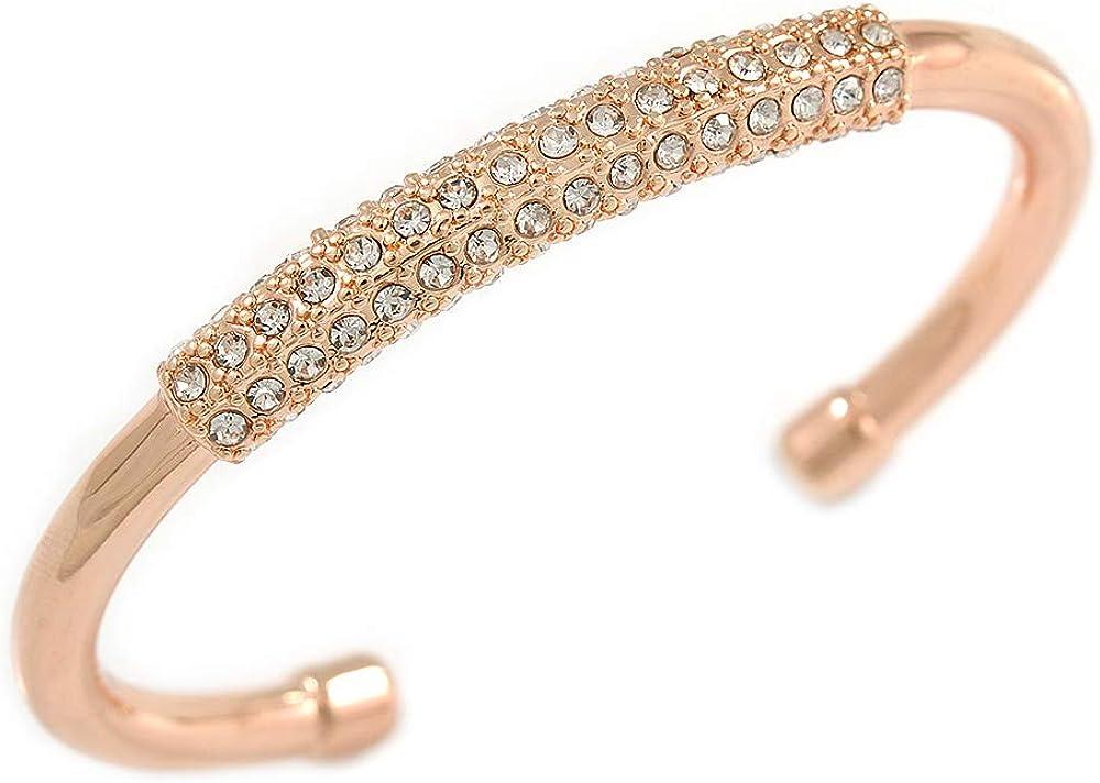 Avalaya Rose Gold Tone Polished Crystal Bar Cuff Bracelet - 19cm L