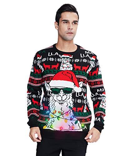 Belovecol Suéter de Navidad con Luces LED para Hombre, Jersey de Punto con Estampado Divertido XXL