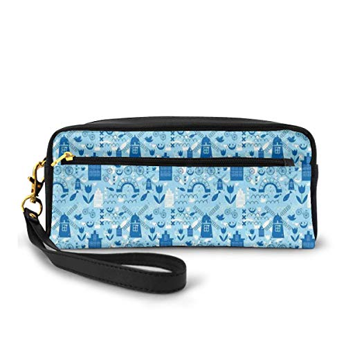 Pencil Case Pen Bag Pouch Stationary,Elements from Nature and Architecture of Netherlands in Blue Tones,Small Makeup Bag Coin Purse