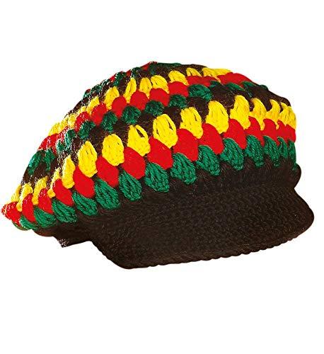 shoperama Reggae Häkel-Mütze mit Schirm Rastaman Rastafari Jamaika Karibik Festival Kappe Kostüm-Zubehör
