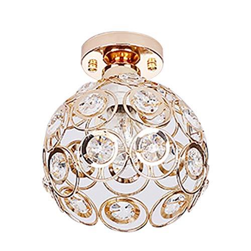 DAYOLY Lámpara de techo, lámpara de araña de cristal, casquillo E27 para comedor, lámpara colgante para dormitorio, sala de estar, cafetería, dorado, 15 cm