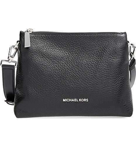 Michael Kors Jane Medium Messenger Leather Black Bag Handbag NEW
