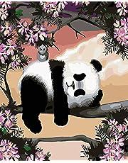 HIWASH DIY Peinture Par Numéros Kit Pour Adultes, Peinture Par Numéros Kits Pour Enfants Coloré Peinture À L'huile Sur Toile Peintures Acryliques Mur Art Image Dessin 16 * 20 Pouces Sans Cadre (Panda)