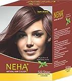 Neha Pflanzliche Natürliche Haarfarbe mit Henna & Kräutern - DUNKEL BRAUN (BOX: 10x15ml) | Silk...