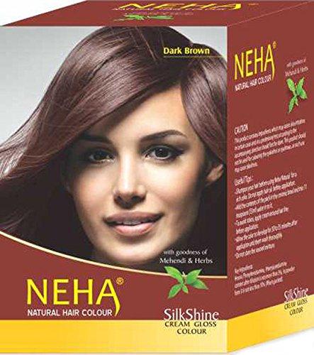 Neha Pflanzliche Natürliche Haarfarbe mit Henna & Kräutern - DUNKEL BRAUN (BOX: 10x15ml) | Silk Glanz-Creme Gloss Mehandi